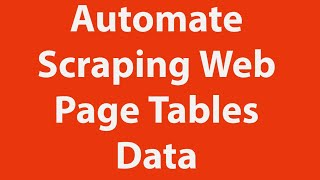Scraping Webpage Tables Data Using VBA