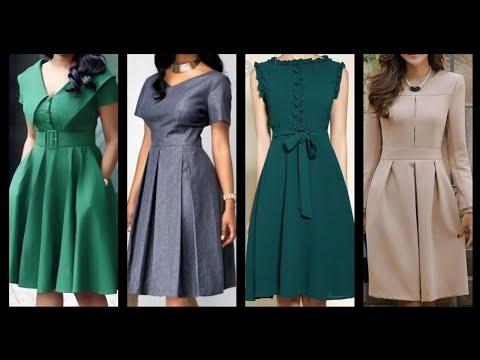 Gorgeous fabulous and latest Plain skater dresses designer wear collection