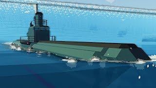 Massive Submarine Goes Inside Tsunami - Stormworks