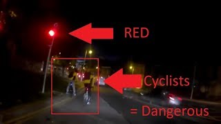 Cyclists Running Red Light On Early Morning Dublin (Be Safe)