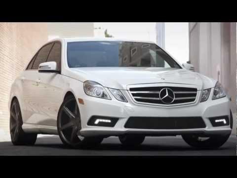 White Mercedes Benz E-350 with Lexani Black Label R-Six Rims