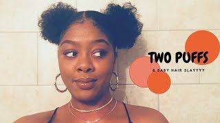 Summertime Fine: Two Afro Puff Balls on Natural Hair + Easy Baby Hair Slay | Type 4 Hair TWA Styles