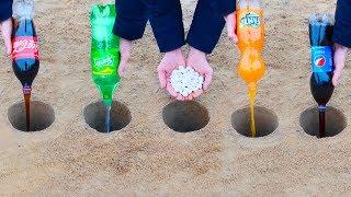 Experiment: Cola, Fanta, Sprite, Pepsi, and Mentos Underground
