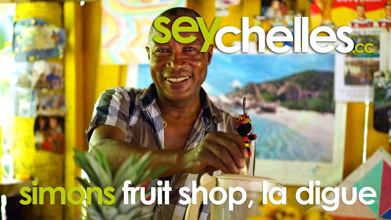 Simons Fruit Shop auf la Digue liegt auf dem Weg zur Grand anse