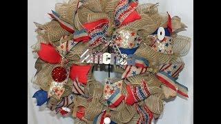 How To Make A Ruffle Deco Mesh Wreath -Patriotic