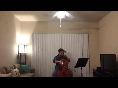 Playing the third movement, Courante, from Bach's 3rd Cello Suite in C Major in this video.