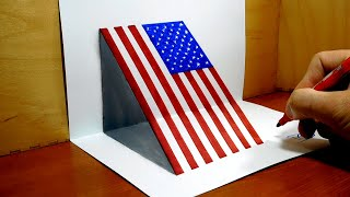 How to Draw USA Flag, 3D DrawingTrick Art
