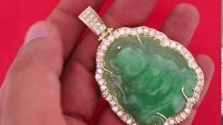 laughing buddha jade gold diamond vvs pendant