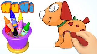 NuNi Art | Puppy drawing for kids| coloring videos