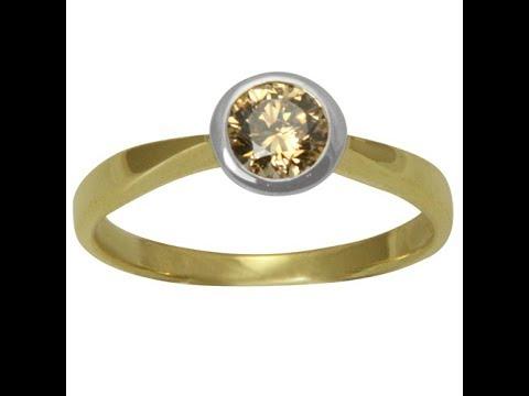 """Diamant Ring """"Champagne"""" 0,60 Karat (Gelbgold/Weißgold 585)"""
