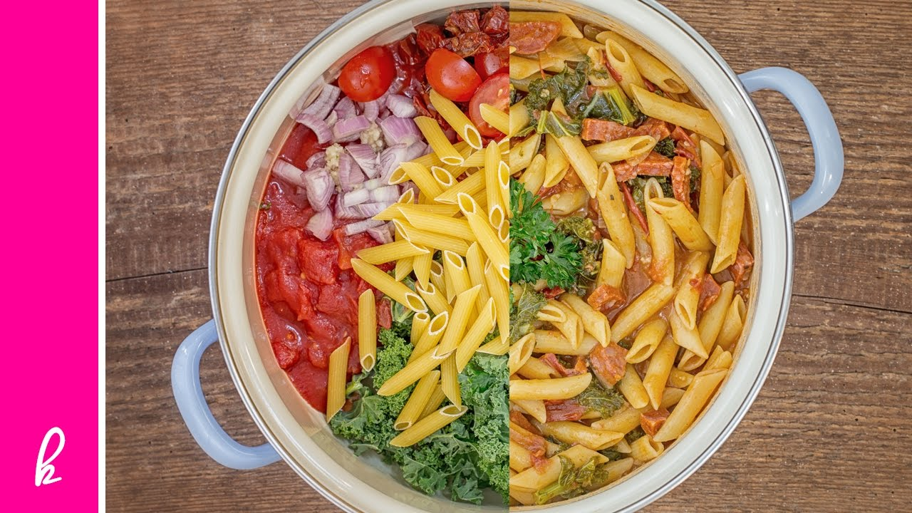 One Pot Pasta Week: Chorizo & Federkohl mit Penne