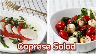 Caprese Salad 2 Ways - Five-Ingredient Italian Appetizer (and Totally Valentines Day Appropriate!)