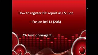 How to register BIP report as ESS Job