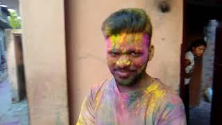 Colourful festival Holi in India Video