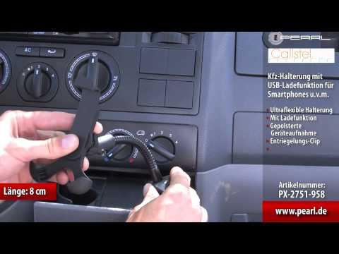 Callstel Kfz-Halterung mit USB-Ladefunktion für Smartphones u.v.m.