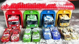 Cars 3 Storage Case - Bus Tayo Garage - Treck Racers Lightning McQueen - Videos for Kids