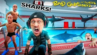Bad Guys at School 3!  Throwing Sharks in a Pool of Classmates!  No Friends Now! (FGTeeVs Day 2 Pt2)