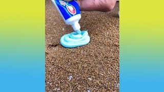 What happens when pouring toothpaste into the sand (Satisfying compilation!!!)