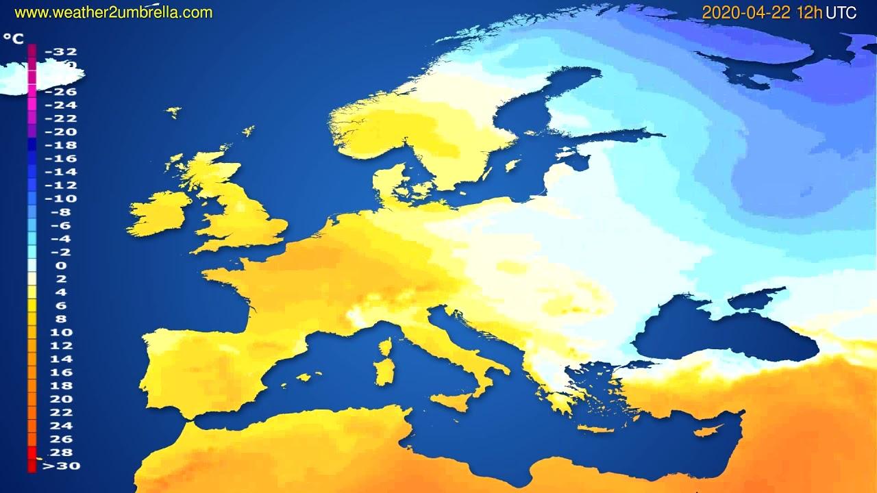 Temperature forecast Europe // modelrun: 00h UTC 2020-04-22
