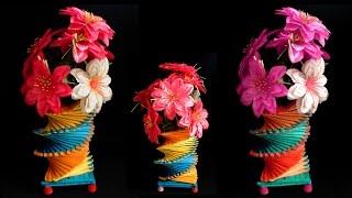 How To Make Popsicle Stick Flower Vase Easy | Popsicle Stick Crafts Ideas | DIY Home Decor