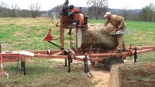 """Don't tell my wife how I did this! Wood-Mizer sawing """"impossible"""" HUGE Pecan log"""