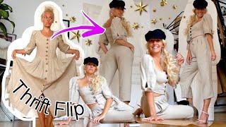 Thrift Flip: aus Trachtenkleid/Landhausmode wird ne trendy Leinenhose und ein Puffärmel-Oberteil :)