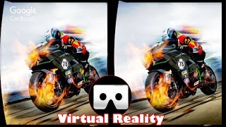 3D VR High Speed Motorcycle Ride Virtual Reality Vídeo  [Google Cardboard VR Box] 3D SBS