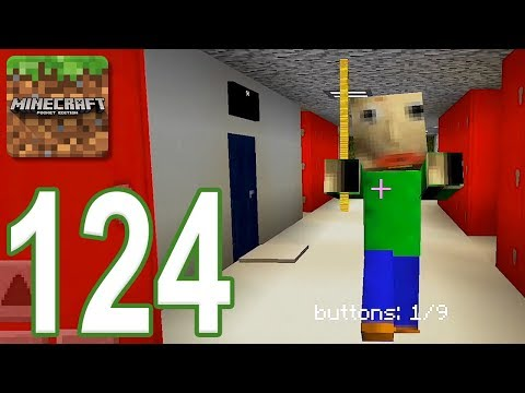 Minecraft: PE – Gameplay Walkthrough Part 124 – Baldi's Basics in Find The Button (iOS, Android)