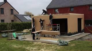petit time lapse de la réalisation d'une extension en ossature bois et bardage paddock