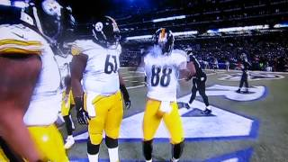 Emmanuel Sanders mocking Ray Lewis dance (Pittsburgh at Baltimore)