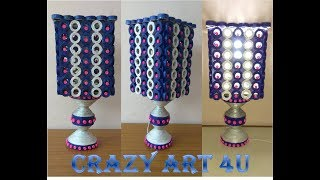 Waste Newspaper Lamp|Home made waste newspaper art||Crazy Art 4 U||