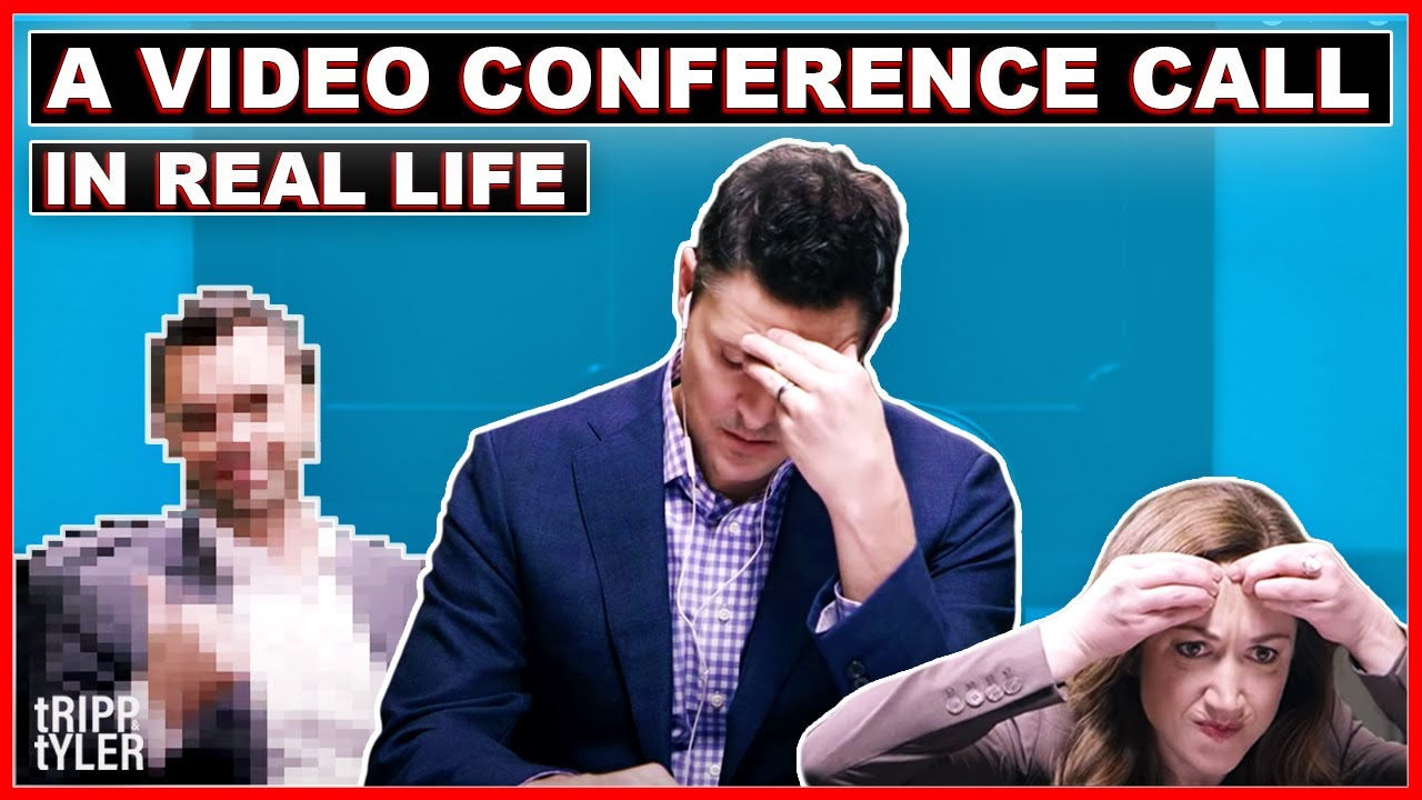 Video-Thumbnail: Zwei Männer am Konferenztisch, darüber Schriftinsert 'A Video Conference Call in Real Life'