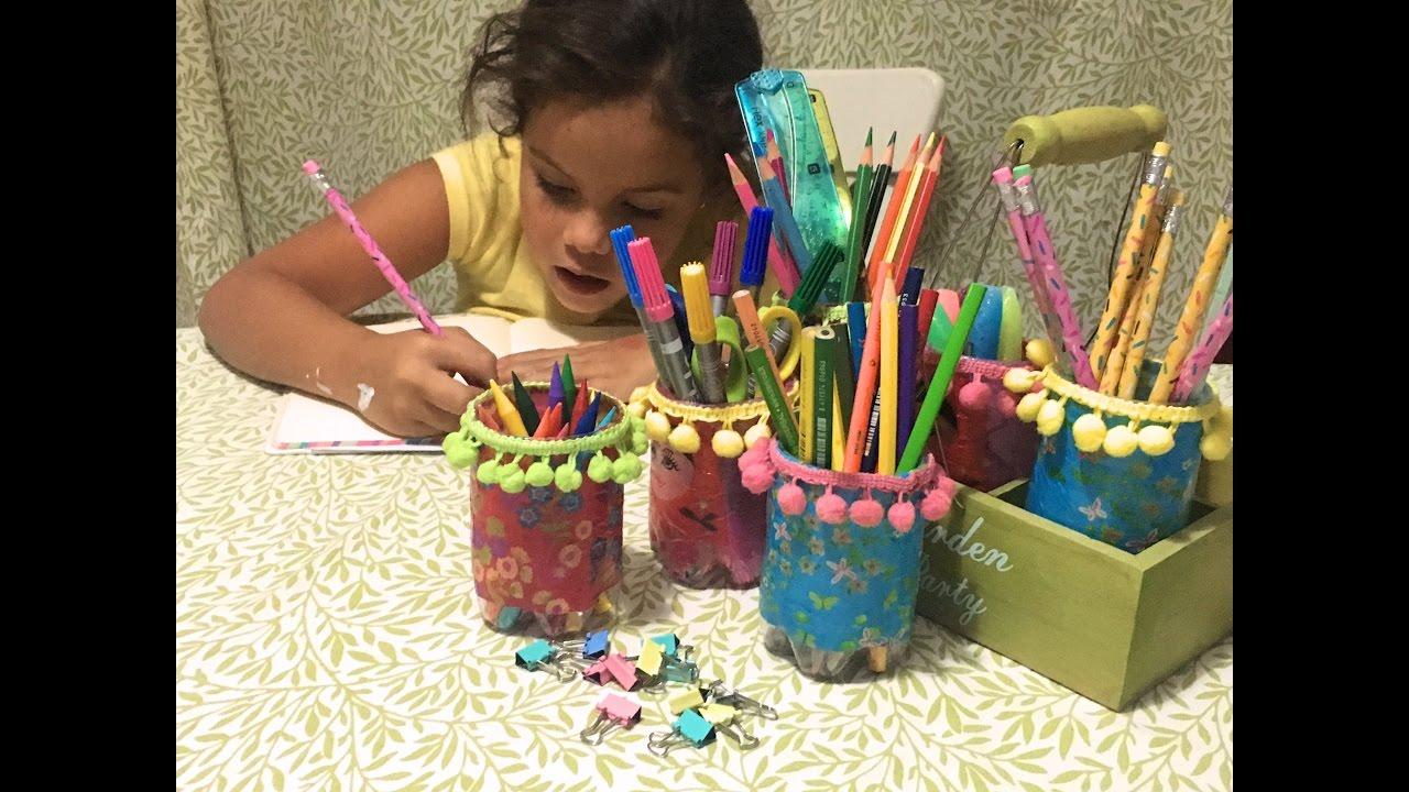 Organizador de lápices utilizando...¿botellas de plástico??