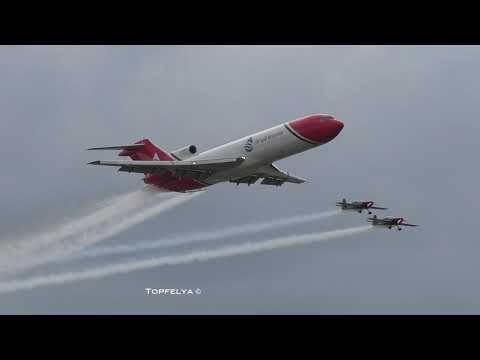topfelya] Rare Boeing 727 spraying water over Farnborough