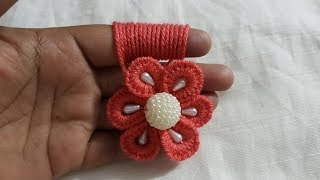 Hand Embroidery Easy Amazing Trick Wool Flower Making Finger Hack Design #123