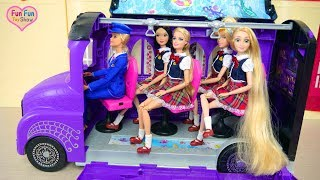 Gambar cover Monster High School Bus For Barbie doll& Disney Princesses Bus sekolah boneka Barbie Ônibus escolar