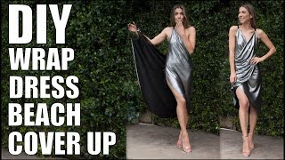 DIY: How To Make Easy WRAP DRESS Beach Cover Up! (NO SEAMS!!)  -By Orly Shani