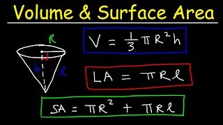 Volume and Surface Area of a Cone & Lateral Area Formula- Basic Geometry