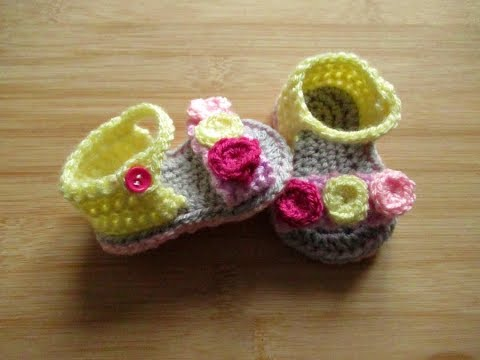 """How to crochet Baby Sandals tutorial 0-3 months 3.5"""" sole - Happy Crochet Club"""