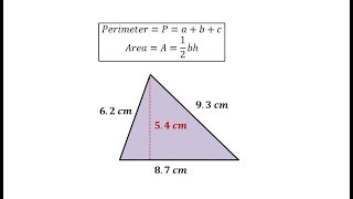 Perimeter And Area Of A Triangle With Decimals