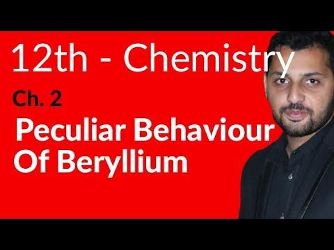 Fsc Chemistry book 2, Ch 2 - Peculiar Behaviour Of Beryllium - 12th Class Chemistry