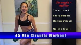 New Circuits workout!! 2 Medium + 2 Heavy weights and a mat!