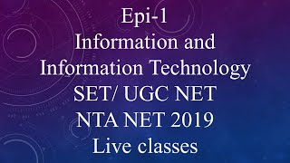 (ICT) Information and communication Technology UGC NTA NET / SET Exam 2019.