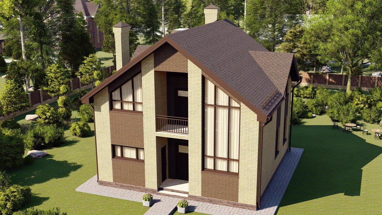 Мансардный дом из пеноблоков с облицовкой кирпичом