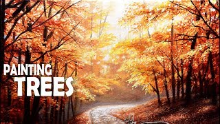 How To Paint Autumn Trees | Acrylic Painting
