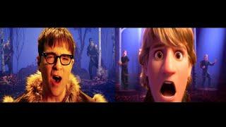 "Kristoff (Jonathan Groff), Weezer   Lost In The Woods (From ""Frozen 2"") Split Screen Comparison"