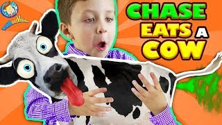 ♫ CHASE EATS A COW! ♬ McDonalds Happy Meal Toys For Kids Playground Play Place FUNnel Vision Vlog