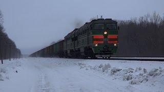 Тепловоз 2ТЭ116-1492 с грузовым поездом