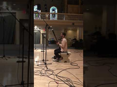 Microphone check at Judson Church, Manhattan, NY during 2019 recording session.