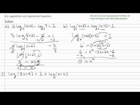Solving Exponential & Log Equations p2